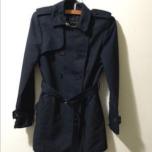 Zara Navy Blue Double-Breasted Trench Coat